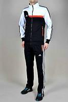 Спортивный костюм Adidas, черная коRта с белым верхом, черные штаны,с лампасами R338