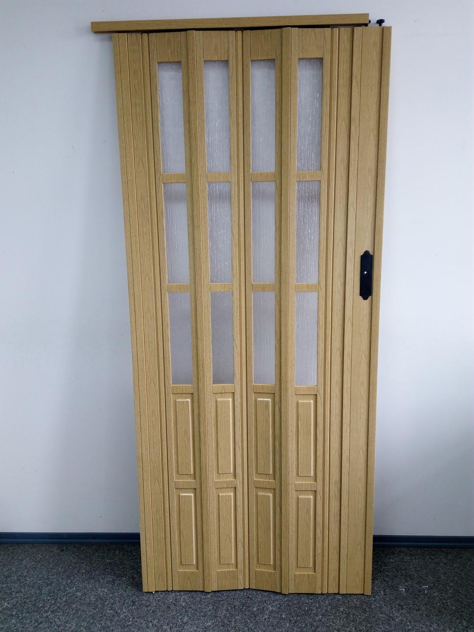 Дверь гармошка межкомнатная полуостекленная, светлый дуб 269, 860х2030х10мм