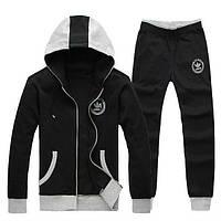 Зимний спортивный костюм, теплый костюм Adidas, черный костюм, с серым капюшоном, R2928