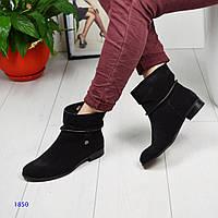 Ботинки женские деми замша черные