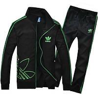 Зимний спортивный костюм, теплый костюм Adidas, черный костюм, с зелёными лампасами, R2958