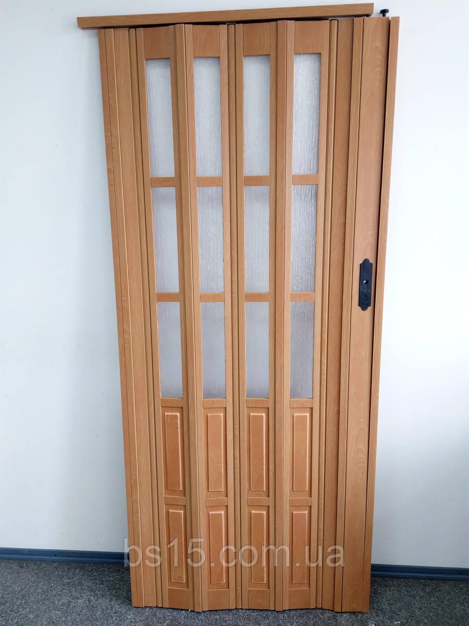 дверь гармошка полуостекленная вишня 501 860х2030х12мм Biglua