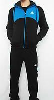 Спортивный костюм Adidas, черный костюм с голубым верхом коRты, с голубыми лампасами, R2980