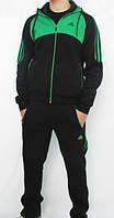 Зимний спортивный костюм, теплый костюм Adidas, черный костюм кофты, с зелёными лампасами, R2979