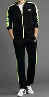 Спортивный костюм Adidas, черный костюм, с салатовыми лампасами, R2989
