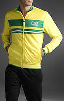 Спортивный костюм Armani, желтая коRта с зелёной вставкой, черные штаны, R3001