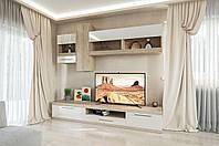 Гостиная  Пальмира 2050х2500х500мм дуб сонома + белый лак   Світ Меблів