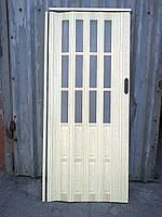 Дверь гармошка полу остекленная сосна 7012, 860х2030х12мм, фото 1