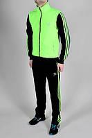 Спортивный костюм Adidas, салатовое туловище, черные рукава, черные штаны, с175