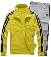 Зимний спортивный костюм, костюм на флисе Adidas, желтый верх, серый низ, с лампасами с171