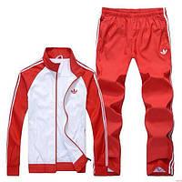 Спортивный костюм Adidas, белое туловище, красные рукава, красные штаны,с лампасами с193