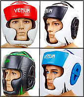 Шлем боксерский с полной защитой кожаный VENUM CHALLENGER (р-р M-XL)