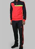 Спортивный костюм Adidas, красное туловище, черные рукава, черные штаны,с красными лампасами с199
