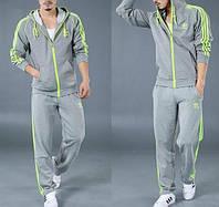 Спортивный костюм Adidas, серый костюм, с салатовыми лампасами, с241