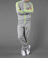 Спортивный костюм Adidas, серый костюм, с салатовыми лампасами, с262