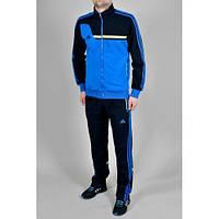 Спортивный костюм Adidas, голубое туловище, черные рукава, черные штаны,с лампасами с291