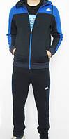 Зимний спортивный костюм , костюм на флисе Adidas, черная коста с синим верхом, черные штаны,с лампасами с292