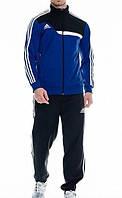 Зимний спортивный костюм , костюм на флисе Adidas, синяя коста с черным верхом, черные штаны,с лампасами с303