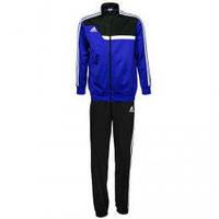 Зимний спортивный костюм , костюм на флисе Adidas, синяя коста с черным верхом, черные штаны,с лампасами с304