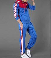 Спортивный костюм Adidas, голубая коста с красным верхом, голубые штаны,с лампасами с308