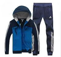 Зимний спортивный костюм , костюм на флисе Adidas, синяя коста с темно-серым верхом, темно-серые штаны, с капюшоном, с лампасами с332