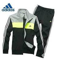Зимний спортивный костюм , костюм на флисе Adidas, черная коста с серым верхом, черные штаны,с лампасами с2934