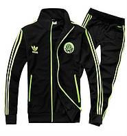 Спортивный костюм Adidas, ченый костюм, с салатовыми лампасами, с2937