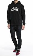 Зимний спортивный костюм, теплый костюм Nike черный цвет, R3404