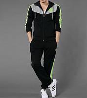 Зимний спортивный костюм , костюм на флисе Adidas, черный костюм с серым верхом косты, с салатовыми лампасами, с2981