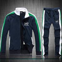 Спортивный костюм Armani, темно-синий костюм с зелёными и белыми вставками, с3012