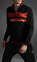 Спортивный костюм Armani, черный костюм, с красными вставками, с3021