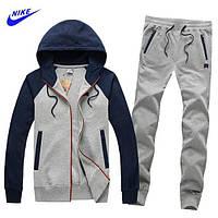 Зимний спортивный костюм , костюм на флисе Nike, серый с темно-синими рукавами, с3056