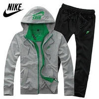 Зимний спортивный костюм, костюм на флисе Nike, серый кенгуру с зелеными вставками, черные штаны, с3060