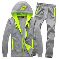Спортивный костюм Nike, серый, с салатовыми вставками, с3071