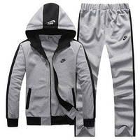 Зимний спортивный костюм , костюм на флисе Nike, серый с черными вставками, с3085
