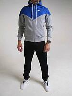 Зимний спортивный костюм , костюм на флисе Nike, черные штаны, серое туловище, синий верх, с3099