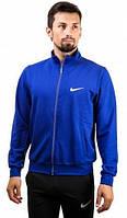 Зимний спортивный костюм , костюм на флисе Nike, со змейкой синяя коста, черные штаны, с3122