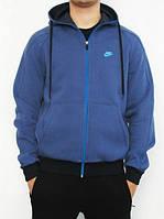 Зимний спортивный костюм , костюм на флисе Nike, синяя кенгуру, черные штаны, с3118