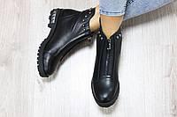Демисезонные кожаные ботинки на молнии цвет : черный