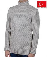 Свитер крупной вязки,под горло.Зимний мужской свитер.