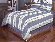 Цветочная полоска полуторное постельное белье Gold