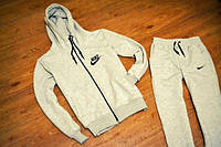 Зимний спортивный костюм , костюм на флисе найк, серый кенгуру на змейке, с3332