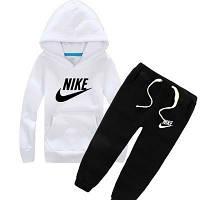 Зимний спортивный костюм , костюм на флисе найк, белый верх, черный низ, с3334
