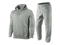 Зимний спортивный костюм , костюм на флисе найк, серый цвет, толстовка и штаны на манжете, с3344