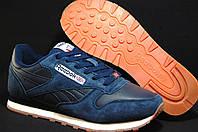Мужские повседневные кожаные кроссовки в стиле Reebok Classic синие 41 размер