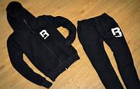 Зимний спортивный костюм, костюм на флисе рибок, с манжетами, цвет черный, с3433