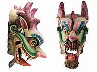 Этническая маска Дракон Раджа красный гребень 70 см широкая