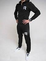 Зимний спортивный костюм, костюм на флисе Reebok черный кенгуру, с белым принтом, с3436