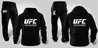 Зимний спортивный костюм , костюм на флисе UFC черный, кенгуру, хлопковый, с3444