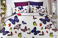 Красивый комплект полуторного постельного белья с бабочками Florida 5D Sateen DV-1721 (Полуторный)